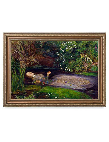 DECORARTS - 'Ophelia' by John Everett Millai. Oil Painting Reproduction, Giclee Print on Canvas. Ready to Hang Framed Wall Art for Home and Office Decor. Total Size w/Frame: 35x25