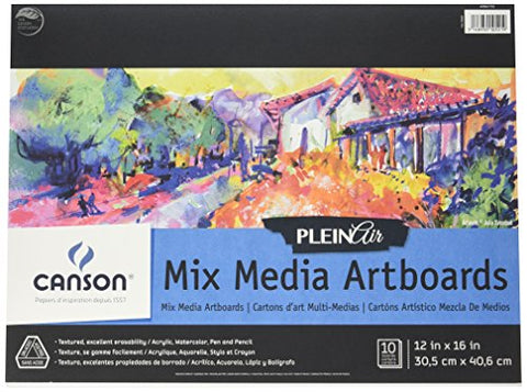 Canson Plein Air Mix Media Art Board Pad for Watercolor, Acrylic, Pens and Pencils, 12 x 16 Inch,