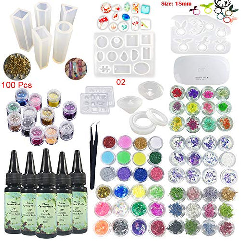 5 Pieces 30ML Crystal Epoxy Resin Glue,72 Decoration with Lamp and Tweezer,13Pcs Transparant Silicone Mold 100 Pieces Rings Metal Accessories For Handcraft Jewelry Earrings Necklace Bracelet