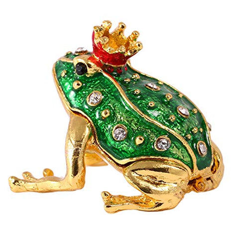 Unique Gift Lucky Green Frog Trinket Box Ring Holder Decorative Box Handmade Faberge Style Home Decor