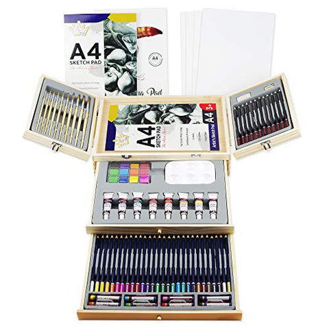 Deluxe Art Supplies, 87 Piece Art Set in Portable Wooden Case, with 2 Drawing Book and 4 Canvas Panels, Professional Art Set for Painting & Drawing, Art Kit for Kids, Teens and Adults/Gift
