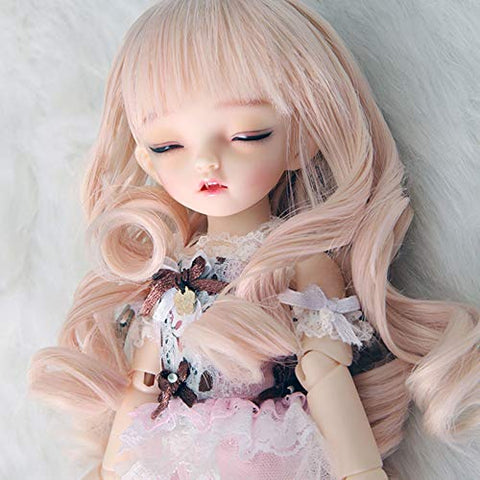 MEESock 1/6 BJD Doll Mohair Wig High Temperature Wire Bangs Curls Hair, Suitable for Head Circumference 6.2-6.6in, Not for Human