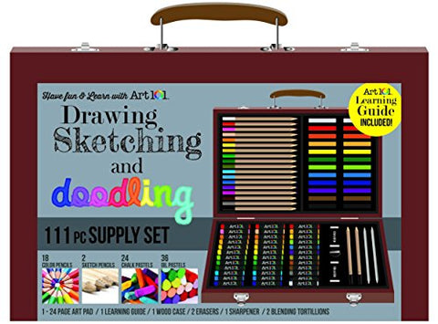 111 pc Drawing, Sketching & Doodling Kit in Wood Case