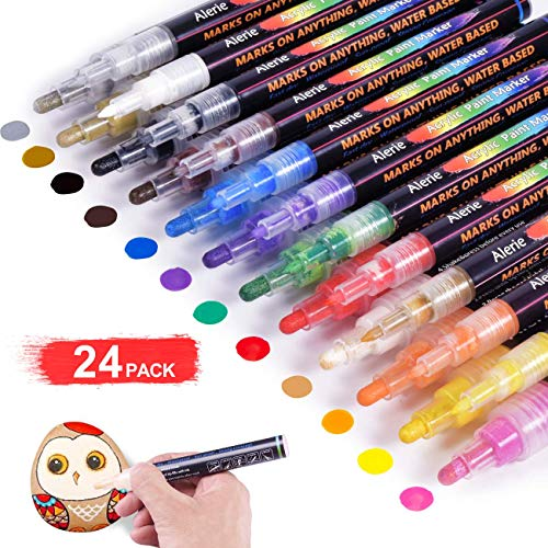 Ceramic Wood Canvas Paint pens for Rock Painting Stone Glass Set of 12 ...