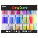 U.S. Art Supply Crazy Colors 30 Color Deluxe Glitter Shake Jars Set Kit - Extra Fine Glitter in