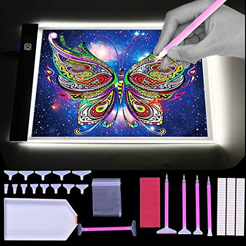 A4 Ultra-Thin Portable LED Light Box Tracer USB Power Cable Dimmable Brightness Artcraft Tracing Light Pad Light Box w 5D Diamond Painting Tool(141 Piece) Set
