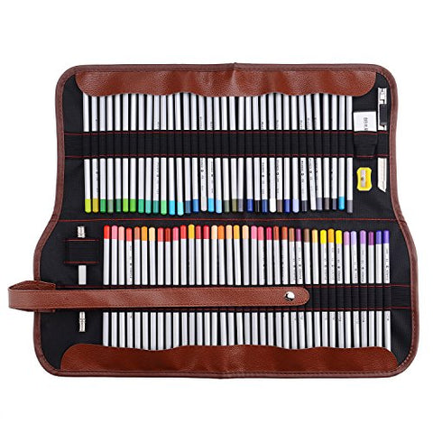 72 Colored Pencils +1 Rubber Eraser Set Marco Raffine Color Drawing Art Supplies with Roll UP