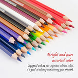 Marco 24 Color Pencil Non-toxic Wooden Premium Soft Core Colored Drawing Set 1550-24CB for Kids