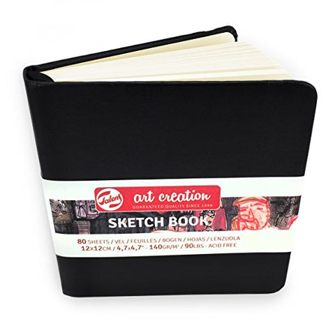 Royal Talens – Art Creation Hardback Sketchbook – 80 Sheets – 140gsm – 12 x 12cm – Black Cover