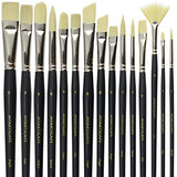 Paint Brush Set - 15 Synthetic Bristle Brushes - The Ultimate Paintbrushes for Acrylic and Oil