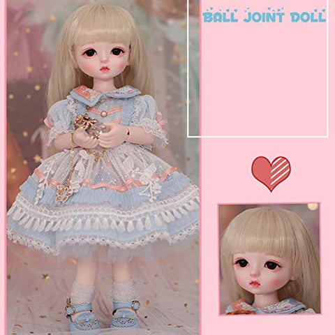 MZBZYU 1/6 BJD Doll 26Cm Princess Toy Fashion Lovely Doll Girl Birthday Gift with Clothes Outfit Shoes Wig Hair Makeup,B