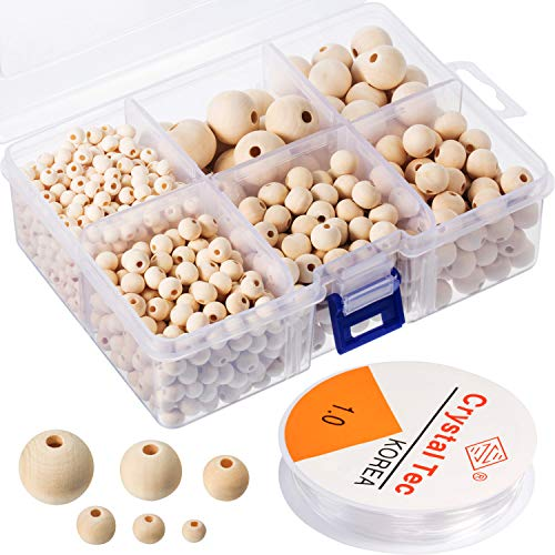 Chuangdi 1105 Pieces Wooden Beads, Natural Round Wood Beads Set with 1 Roll Crystal Elastic Line