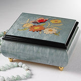 Light Blue Italian inlaid musical jewelry box with original butterfly design and customizable