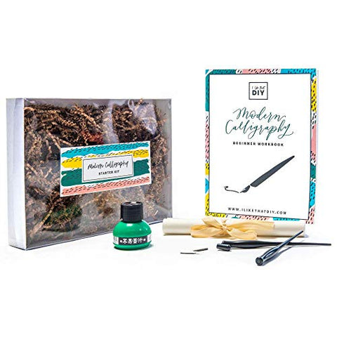 Calligraphy Kit - Starters Package Set. Simple Instructions & Tools. Master The Art of Handwriting. Become a Calligrapher Artist & Design Letters. Handlettering Hobbies Project Kit