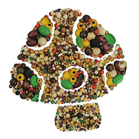 BcPowr 215g Mixed Beads Assorted Color Round and Different Sizes Wood Beads,Large Hole Round Wood