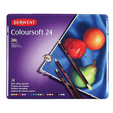 Derwent Colored Pencils, Colorsoft Pencils, Drawing, Art, Metal Tin, 24 Count