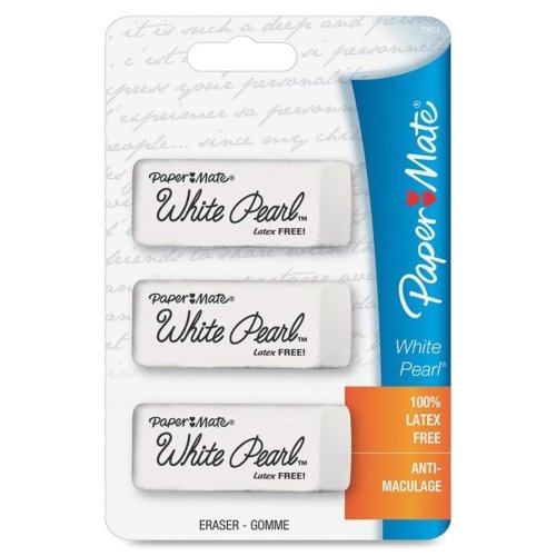 Paper Mate White Pearl Latex Free Eraser - Lead Pencil Eraser - Latex-free, Smudge Resistant -