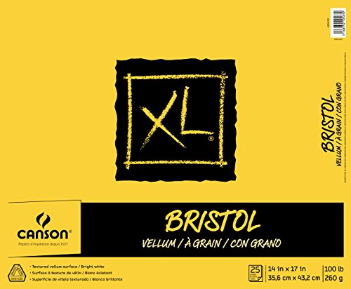 Canson XL Series Bristol Vellum Paper Pad, Heavyweight Paper for Pencil, Vellum Finish, Fold Over, 100 Pound, 14 x 17 Inch, Bright White, 25 Sheets