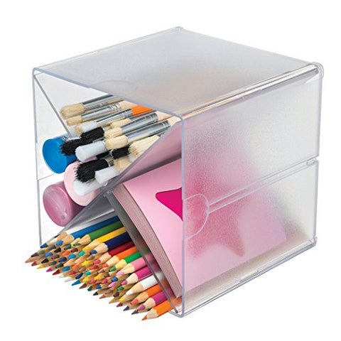 "Deflecto Stackable Cube Organizer Cross Dividers, Desk and Craft Organizer, Clear, Removable Dividers, 6""W x 6""H x 6""D (350201)"