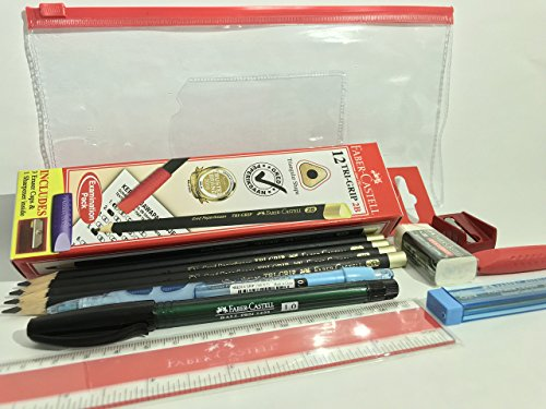 SUPER VALUE Premium Quality of Faber-Castell Exam Set (11 items in 1) in Classic Clear Pouch | 2B