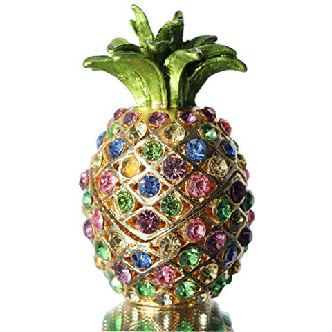 Waltz&F Pineapple Hinged Trinket Box for Gifts Hand-Painted Patterns Trinket Bejeweled Box Collectible