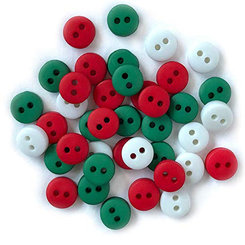 Tiny Buttons for Sewing, Doll Making and Crafts (Christmas) - 3 Packs - 120 Buttons