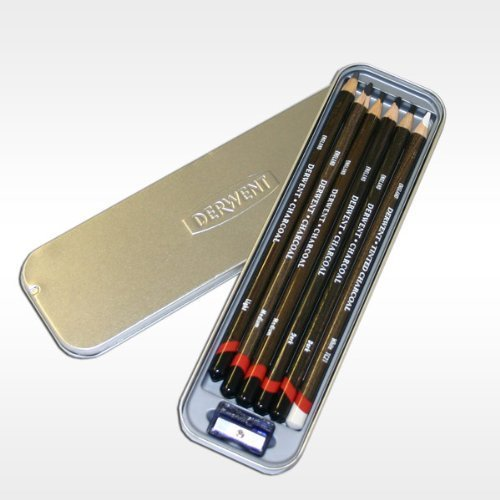 Derwent Charcoal Pencils Tin of 6 by Pencils & Pastels