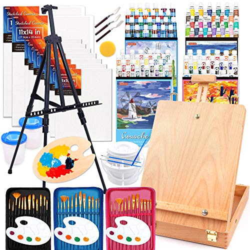 170 Pcs Artist Painting Set, Shuttle Art Deluxe Art Set with Paint, Aluminum and Wooden Easels, Canvas, Paper Pads, Brushes and Other Art Supplies, Complete Painting Kit for Adults, Kids and Artists