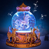 LOHOME Rotate Music Box, Luxury Carousel Crystal Ball Glass Ball Doll Miniature Dollhouse Toy