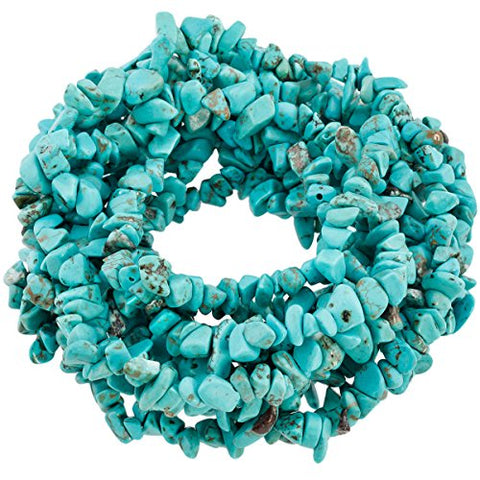 SUNYIK Howlite Turquoise Tumbled Chip Stone Irregular Shaped Drilled Loose Beads Strand for Jewelry