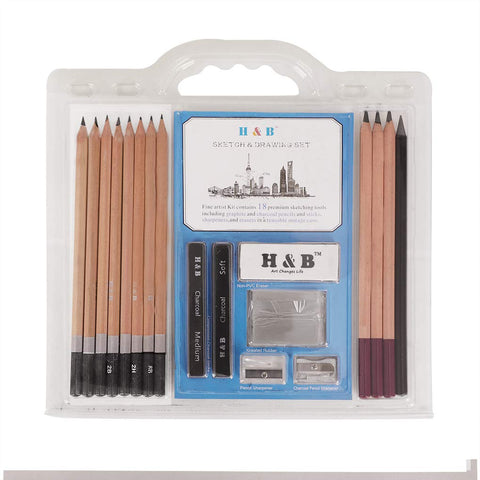 18pcs Graphite Charcoal Pencil Set Drawing Writing Pencil 8B,6B,4B,2B,HB,F,H,2H, 2pcs Compressed Charcoal Sticks,Art Eraser, Mini Pencil Sharpener,(18pcsSketching)