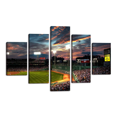 "Yatsen Bridge Landscape Canvas Prints 5 Panels Fenway Park Painting Poster Baseball Game Wall Art Picture Decor for Living Room Bedroom Kitchen Office Home Present Framed Ready to Hang (60"" Wx40 H)"