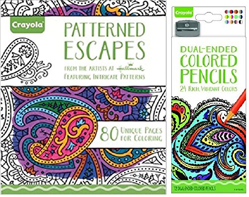 Crayola Patterned Escapes Coloring Book with a 12 Count Crayola Dual Sided Colored Pencils