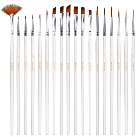 Detail Paint Brush Set - 18 Small Enamel Miniature Brushes for Fine Detailing & Art Painting - Acrylic, Watercolor, Gouache, Oil - Model, Face, Airplane Kits, Warhammer 40k, Rock Painting