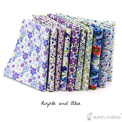 "RayLineDo 10 Pcs Different Pattern Multi Color 100% Cotton Poplin Fabric Fat Quarter Bundle 18"" x 22"" Patchwork Quilting Fabric Blue and Purple Series"
