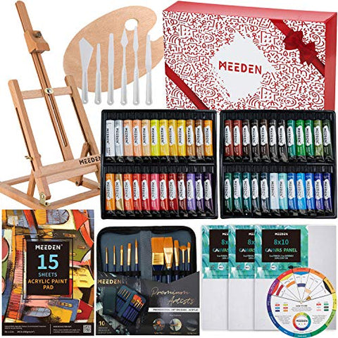 MEEDEN 71-Piece Acrylic Painting Set - Solid Beech Wood Table Easel, 48×22ML Acrylic Paint Set, Canvas Panels, Acrylic Paintbrush Set, Acrylic Pad, Wood Paint Palette, Gift for Kids & Beginner Artist