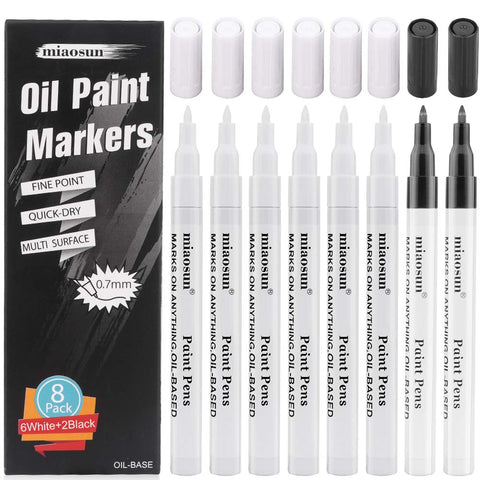 Oil Paint Markers,8Pack (6Pack White and 2Pack Black)0.7mm Medium Tip Acrylic Paint Pens High Volume Ink Water and Fade Resistant for Rock Painting-Stone, Ceramic, Metal, Glass, Wood, Fabric