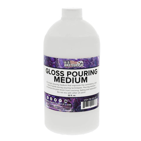 U.S. Art Supply Gloss Pouring Effects Medium - 32-Ounce/Quart