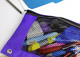 BAZIC Bright Color 3-Ring Pencil Pouch w/ Mesh Window - 24 Pack