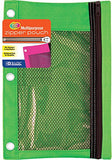 BAZIC 3-Ring Pencil Pouch with Mesh Window for School, Home, or Office Supplies (Assorted Colors.