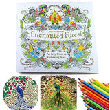 Enchanted Forest Colouring Book + Colored Pencils + Sharpie Markers ● GIFT SET