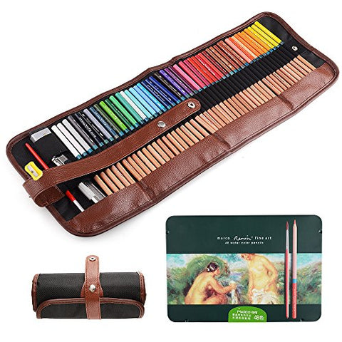 Marco Renoir Fine Art 48 Water Color Drawing Pencils +Eraser pencil extender Set With Metal Tin and