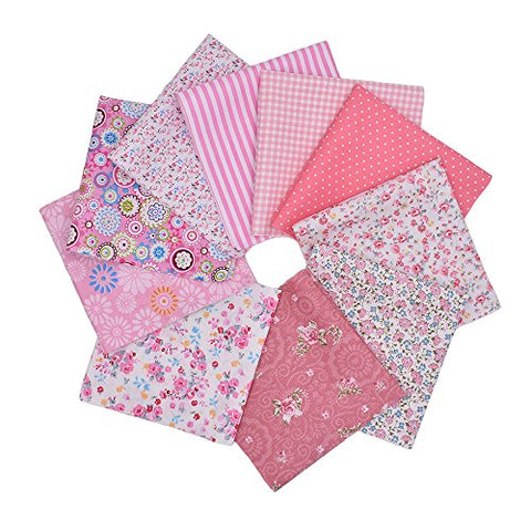 RayLineDo 10pcs 8 x 8 inches (20cmx20cm) Print Cotton Pink Series Fabric Bundle Squares Patchwork DIY Sewing Scrapbooking Quilting Pattern Artcraft Collection B