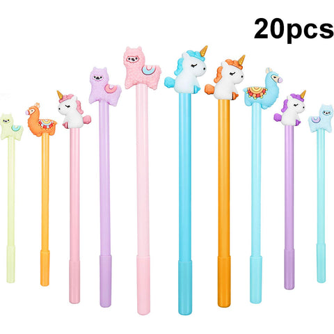 20 Pieces Cartoon Animal Pens, Including Alpaca Pens Unicorn Pens and Sheep Camel Gel Pen for Office School Supplies