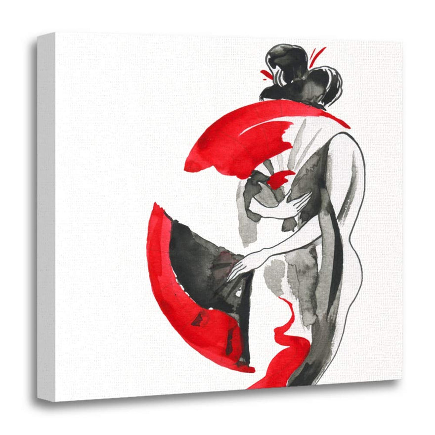 "Emvency 20""x20""(50x50cm) Canvas Painting Wall Art Red Asia Geisha Women in Traditional Japanese Style Watercolor Hand Painting Home Decorative Artwork Prints"