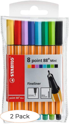 STABILO Point 88 Mini wlt 8 Assorted Colours - Fineliner (Pack 2)