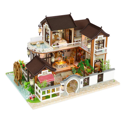 Kisoy Miniature DIY Dollhouse Kit with Furniture Accessories Creative Gift for Lovers and Friends (Dream in Ancient Town) with Dust Proof Cover and Music Movement