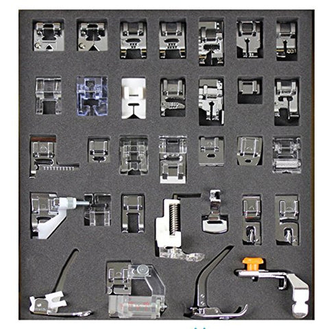 Tinksky 32pcs Domestic Sewing Machine Presser Foot Set for Brother Babylock New Home Janome Elna