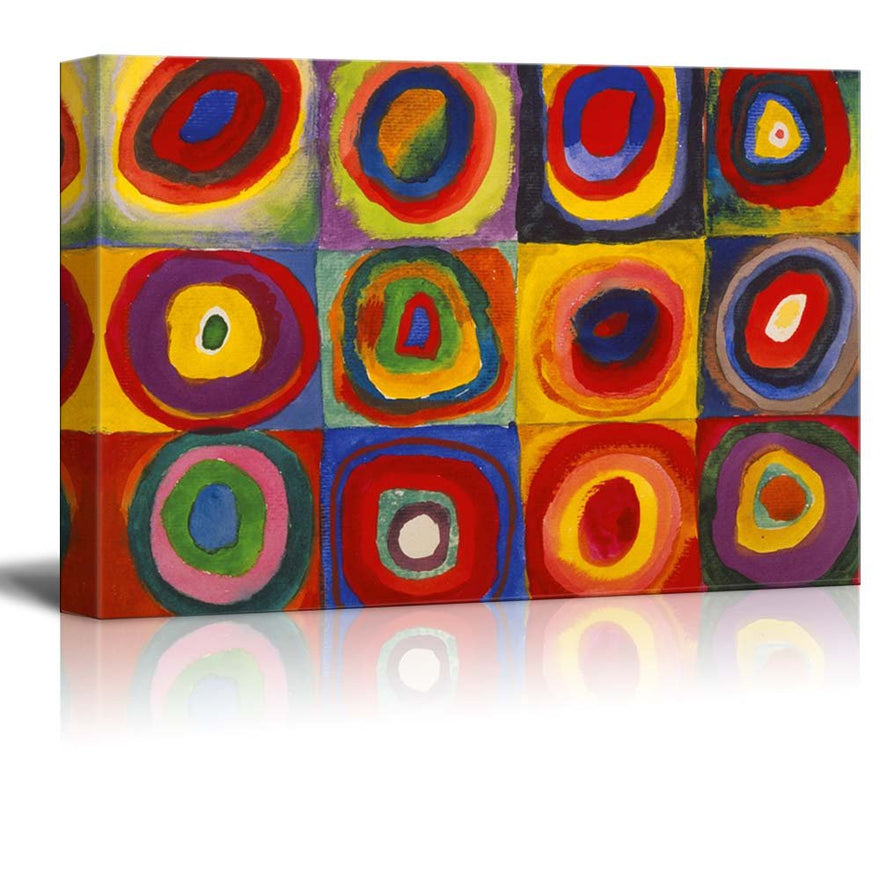 "Abstract Canvas Art Squares with Concentric Circles Squares with Concentric Circles by Wassily Kandinsky Giclee Canvas Prints Wrapped Gallery Wall Art | Stretched and Framed Ready to Hang - 24"" x 36"""