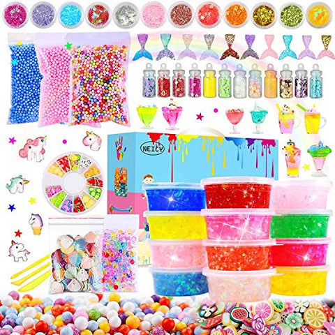 NEICY Slime Kit Slime Supplies - Clear Crystal Slime, Foam Beads, Fish Beads, Unicorns and Mermaids for Kids Slime Making and Party Favors Decorations